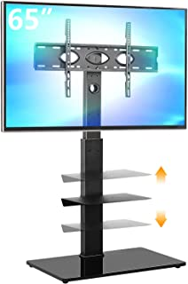 5Rcom Black TV Floor Stand with 2 Shelves for Most 32 37 42 47 50 55 60 65 inch Plasma LCD LED Flat or Curved Screen TVs w...