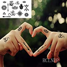 tzxdbh 7Pcs-Pegatina para Tatuajes a Prueba de Agua Tribal Totem Lotus Arrow Tattoo Girl Hand Back Back Girl 7Pcs-