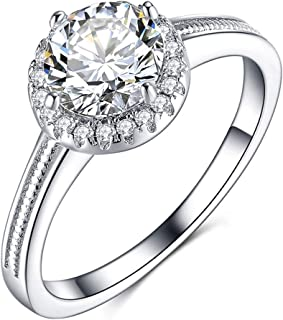 Olrla 1.0ct Round Cut D Color Moissanite Diamond Wedding Engagement Ring for Women Ladies, Platinum Plated Silver, US Size...