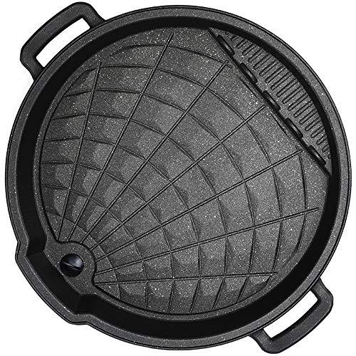 Diaod Negro sartén Reversible Sartén, Revestimiento Antiadherente de Gas, Cocina de inducción, diámetro Interno de 32 cm