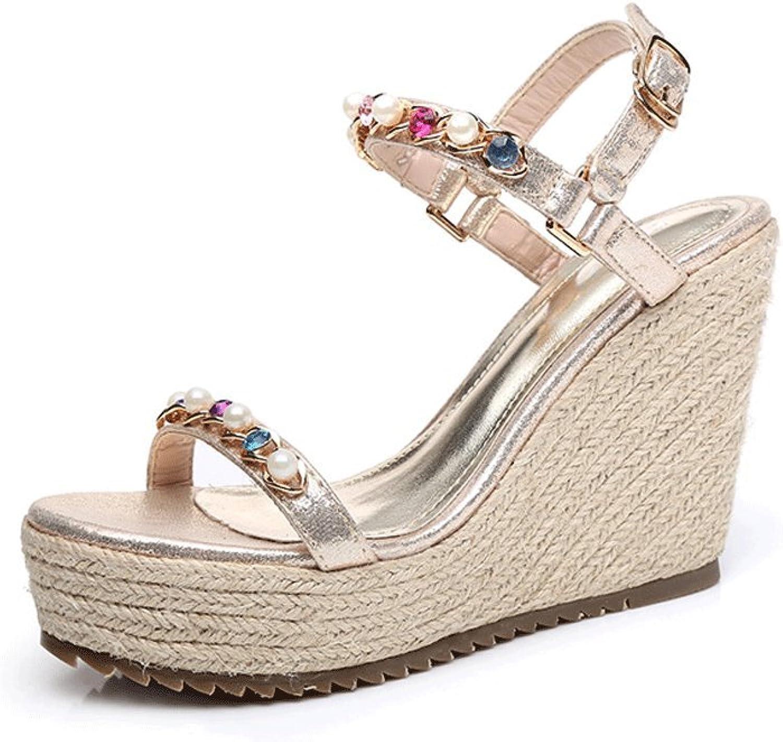 Traumfänger Mode Neue Keile Sandalen high-Heeled Schuhe Gold geflochtene Schuhe (Farbe   Gold, größe   39)  | Billig