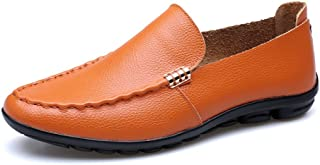 shangruiqi Men's Classic Shoes Genuine Leather Rubber Soft Flat Sole Casual Loafer for Gentlemen Abrasion Resistant (Color : Orange, Size : 5.5 UK)