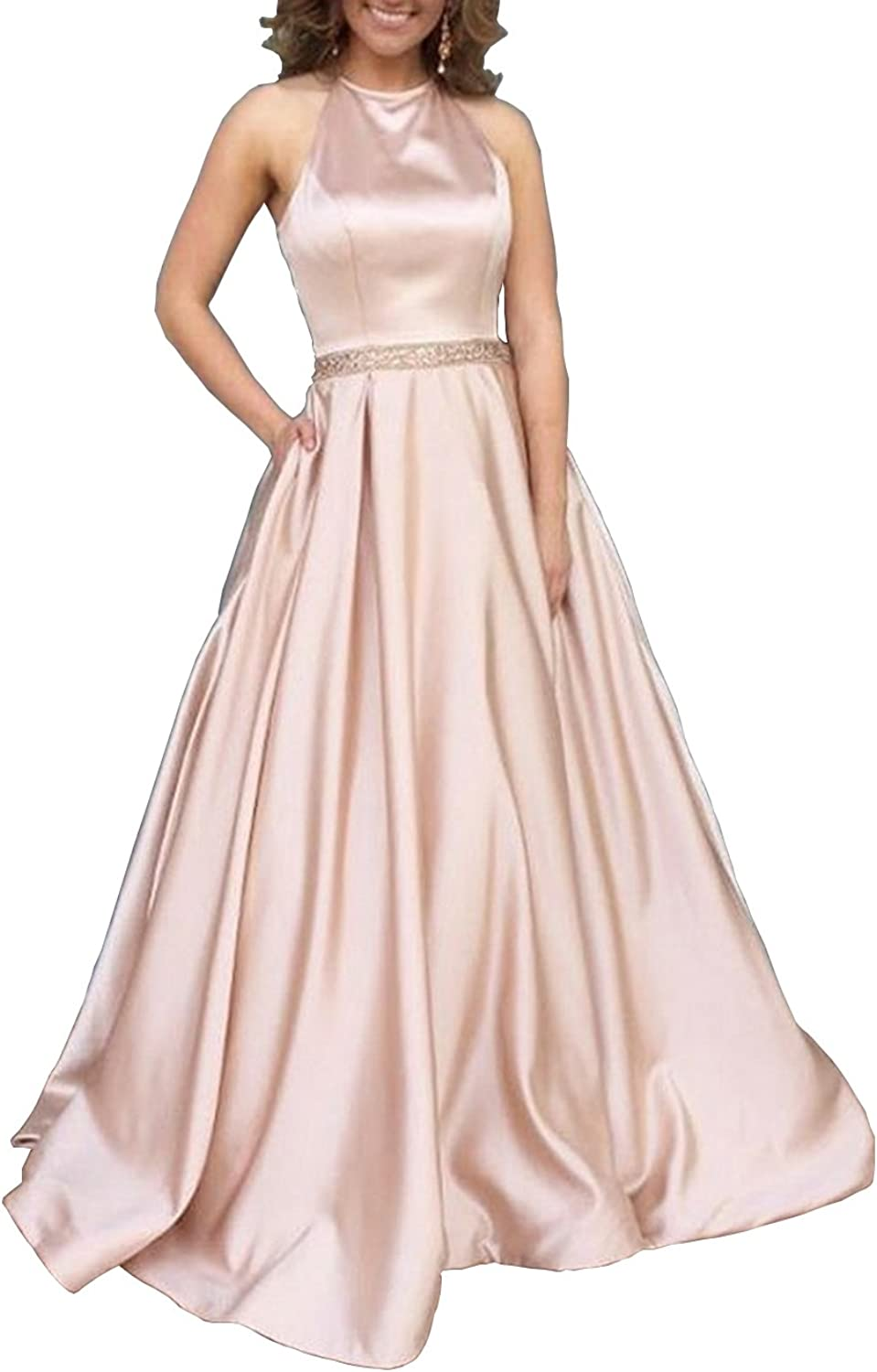 Women's Halter Aline Beaded Satin Long Formal Evening Gown Prom Dress with Pockets Size 10 pink gold