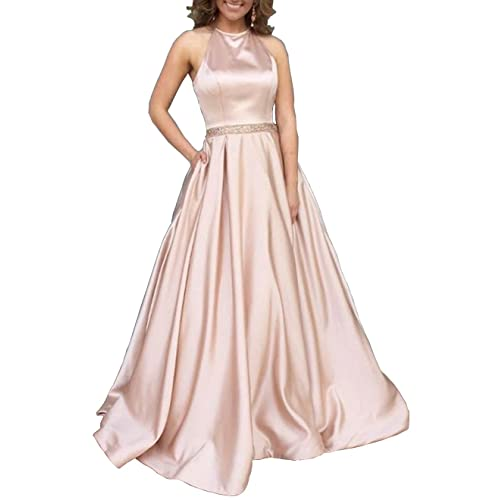 94c39fc9f71 Women s Halter A-line Beaded Satin Evening Prom Dress Long Formal Gown with  Pockets