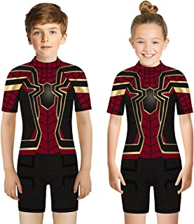 Leezeshaw Boys Girls Superhero Spiderman One Piece Rash Guard Swimsuit Sunsuit,Kids 3D The Avengers Iron Man Print All in ...