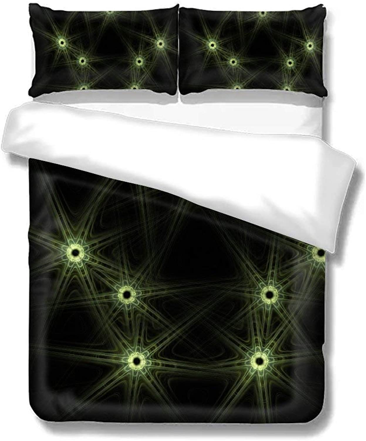 Set of Three On The Bed Fractal 1352687 Home Bedding Duvet Cover Set Bed Sheets Set Soft Comfortable Breathable King Size