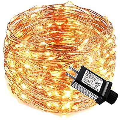 LED Fairy Lights 99ft with 300 LEDs Fairy String Lights for Bedroom, Patio, Indoor/Outdoor Waterproof Copper Lights for Birthday, Wedding