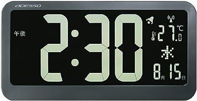 ADESSO(アデッソ) 掛け時計 電波時計 ブラックディスプレイ 反転液晶 大画面 温度 日付表示 ブラック OP-04