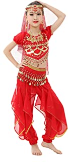 Girls Halloween Costume Set - Kids Belly Dance Halter Top Pants with Jewelry Accessory for Dress Up Party
