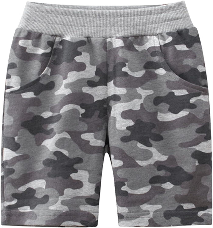 TiaoBug Kids Boys Casual Summer Shorts Camouflage Print Sports Shorts Classic Cotton Elastic Waist Shorts with Pockets
