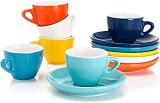 Sweese 401.002 Porcelain Espresso Cups with Saucers - 2 Ounce - Set of 6, Hot Assorted Colors