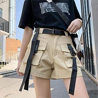 レディースハイウエストショーツレディースサマーファッションプラスサイズストリートカジュアルカーゴショーツベルトポケットジョギングショーツ