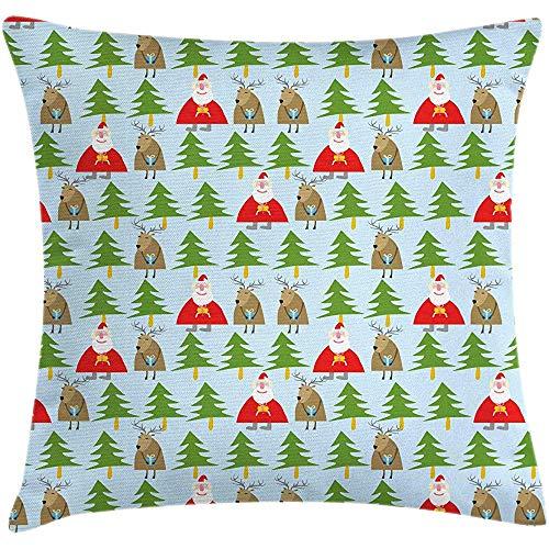 Ducan Lincoln Pillow Case 4 Stück 18X18 Zoll Weihnachten Dekokissen Kissenbezug,Kinderzimmer Thema Weihnachtsmann Und Rentier Mit Geschenken Winterwald,Home Decor Square Akzent Kissenbezug