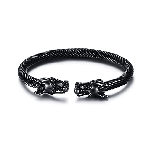 1d4ea98031ecf Mealguet Jewelry Mens Stainless Steel Opposite Dragon-Themed Twisted Wire  Viking Cuff Bangle Bracelet,