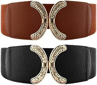 VOCHIC Wide Belt for Womens Ladies Elastic Stretch Interlock Buckle Thick Waist Band for Dress