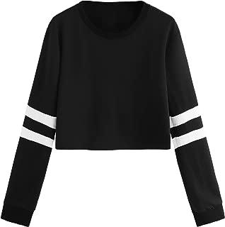 SweatyRocks Women's Striped Long Sleeve Crewneck Crop Top Sweatshirt