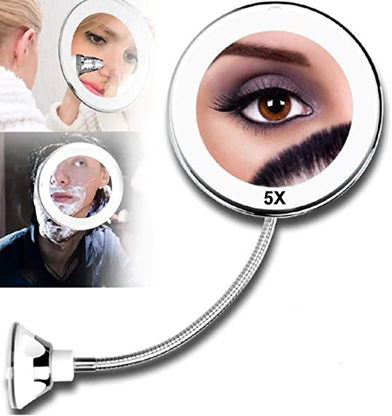 LED Mirror Makeup Mirror With LED Light Vanity Mirror 5X Magnifying Miroir LED Miroir Grossissant Magnifying By Shopidea