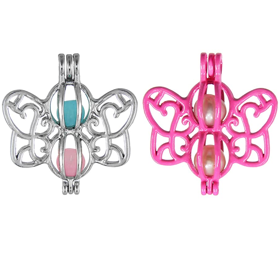 SHUHONEY 10Pcs Butterfly Oyster Pearl Bead Cages Pendant Wholesale - Essential Oil Scent Diffuser Cage Charms for Bracelet Necklace Earrings Jewelry Making