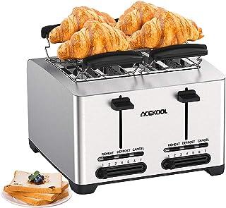 4 Fentes Acier Inoxydable Grille-pain, Acekool Toaster 4 Tranches, 7 Niveaux de Brunissage, Décongélation/Réchauffage/Annu...
