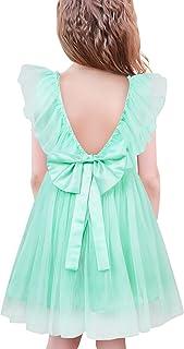 SFreeBo Vestito Bambina Elegante Cerimonia Vestito Damigella Bambina Sposa Compleanno Principessa Abito da Battesimo 2-8 Anni