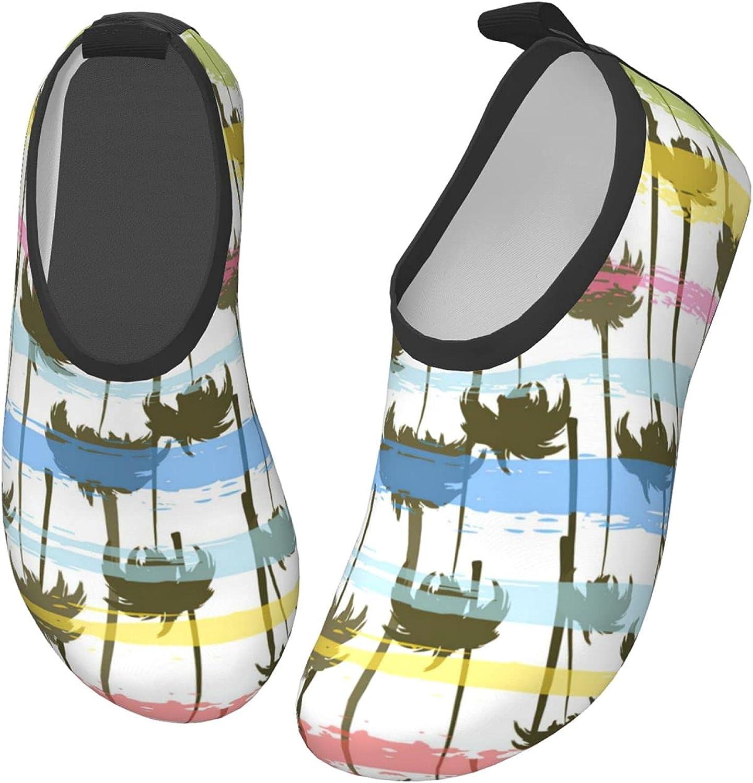 Bluebluesky Tropical Palm Trees Kids Swim Water Shoes, Non-Slip Quick Dry Barefoot Aqua Pool Socks Shoes for Boys & Girls Toddler