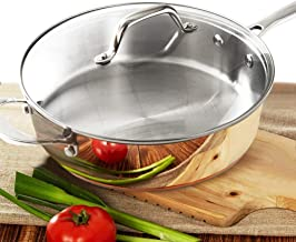 HOMICHEF 9.5 Inch Nickel Free Stainless Steel Saute Pan With Lid Induction Oven Safe..
