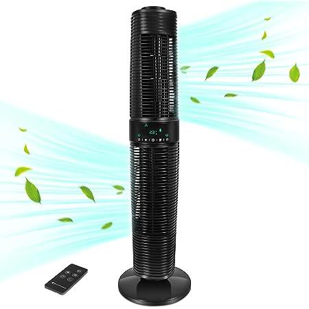 MYCARBON Ventilateur Colonne Silencieux ECO Mode Oscillant 360° Ventilateur Tour sur Pied avec Télécommande 350m³/h 45W 8H Minuterie 96cm 3 Vitesses Ecran LED Tactile pour Chambre Bureau 30m² - Noir