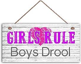 MAIYUAN Girls Rule Boys Drool Sign, Girl's Room Sign, Girl's Room Decor, Girl's Door Sign, 5
