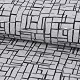 SCHÖNER LEBEN. French Terry Sommersweat Geometrisch grau