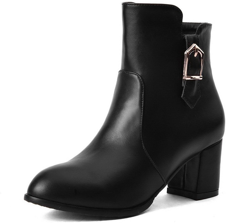 WeiPoot Women's PU Kitten-Heels Round Closed Toe Solid Zipper Boots