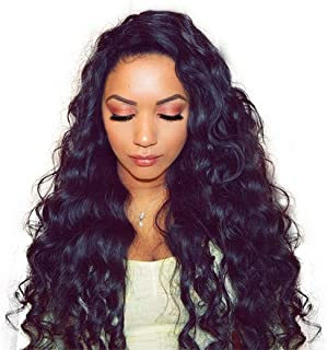 Dolago Hair Lace Front Human Hair Wigs Pre Plucked with Baby Hair Loose Wave Brazilian Virgin Hair Glueless 250% Density 13x4 Lace Front Wig Natural Black (16inch,loose wave)