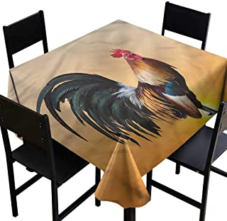 home1love Rooster Anti-Fading Tablecloths Farm Animal Sunrise for Square and Round Tables 50 x 50 Inch