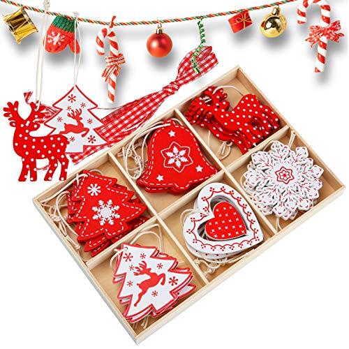 juehu 24 Pezzi Natale Ornamenti Pendenti Decorazioni Natalizie Decorazioni Albero di Natale in Legno Natale e Snowman Ciondolo di Natale con Spago per Decorazioni Albero di Natale Abbellimenti Albero