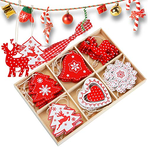 juehu 24 Pcs Decoracion Arbol Navidad Madera Navidad Adornos de Copos de...