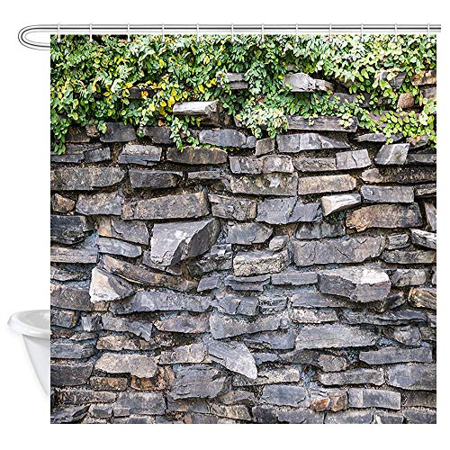DYNH Stone Brick Wall Shower Curtain, Ivy Green Leaves Climbing on Rustic Marble Rocks Stone Wall Bath Curtains, Fabric Shower Curtain for Bathroom Accessories 12PCS Hooks, Bathtub Curtain 69X70 in