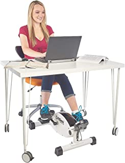 FitDesk Under Desk Cycle - Stationary Pedal Exerciser with Smooth Magnetic Resistance - Portable Mini Exercise Bike for Quiet Home or Office Use - White