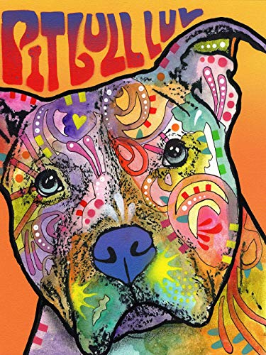Dog Diamond Painting-DIY 5D Diamond Painting Kits for Adults and Beginner,Crystal Rhinestone Full Drill Embroidery Diamond Arts Craft Home Decor Animal Diamond Painting Pit Bull LUV(12x16in)
