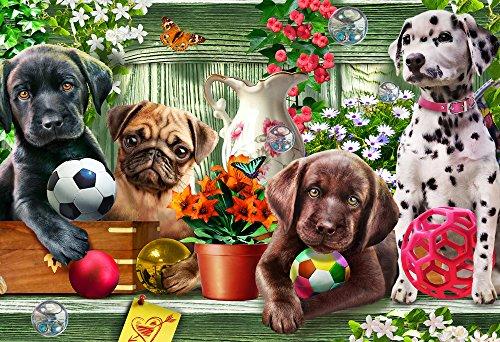 Vermont Christmas Company Cuccioli Puzzle Giardino per i Bambini 100 Parti