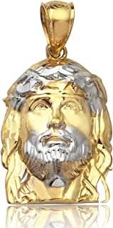 10K Yellow Gold Two Toned Jesus Head Pendent Charm (0.97'' x 0.41