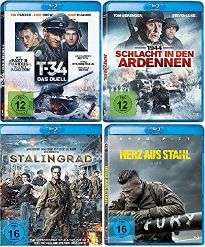 T-34 Das Duell + Schlacht in den Ardennen + Stalingrad + Fury Herz aus Stahl / 4 x Kriegsfilme Set [Blu-ray Set]