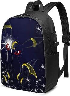USBポート付き17インチバックパック コンピュータ 充電ポート付きバックパックブックバッグ Cattl-eya Black-ie 防水 デイパックノートブックバッグ 収納ボックス男女性の学生 旅行