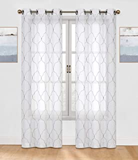 Regal Home Collections Brenda Trellis Embroidered Sheer Voile Grommet Curtain Panels, 2 Pack, Assorted Colors, (Gray)