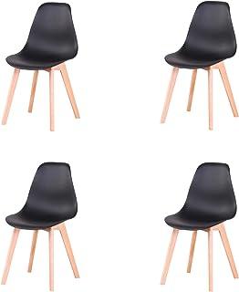 EGOONM Conjunto de 4 sillas, sillas de diseño nórdico con Patas en Madera Maciza, sillas para Sala de Estar, Cocina, Oficina, Negro