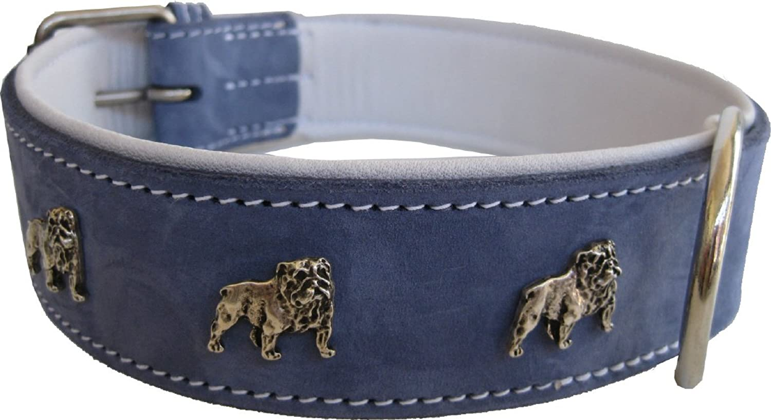 Robust Leather Collar with English Bulldogs in Different Sizes  Black, Brown or Denim