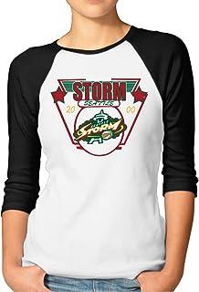 ElishaJ Women's Raglan Baseball T Shirt Seattle Basketball Storm Black