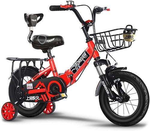 Kinderfürr r Einr r Kinder fürrad 2-3-4-6 Jahre alt Kinderwagen Jungen und mädchen Baby fürrad Falten fürrad Multifunktions-Sport fürrad (Farbe   rot-B, Größe   14IN)