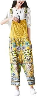 neveraway Women Oversized Casual Floral Spring Wide Leg Navajo Denim Overalls