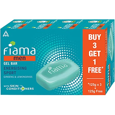 Fiama Men Energizing Sport Gel Bar, with Ginseng and Lemongrass, with skin conditioners, 125g (Buy 3 Get 1 Free)