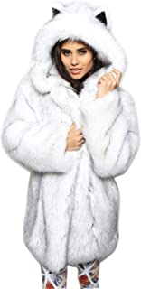 BoodTag Women Artificial Fur Hooded Loose Sweater Long Sleeve Coat