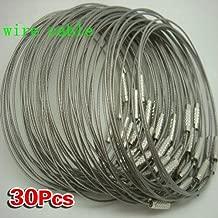 Sonline 30 x Llavero Anillo Acero Inoxidable Cable de Bloqueo Accesorios al Aire Libre
